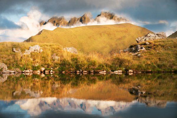 Cloudy Dents du Midi reflection - photo artwork - Nina Clare Photography